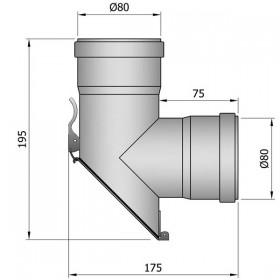 T-stuk 45 graden - D: 80 mm