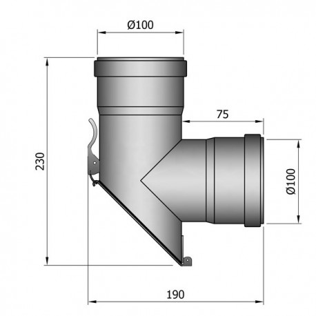 T-stuk 45 graden - D: 100 mm
