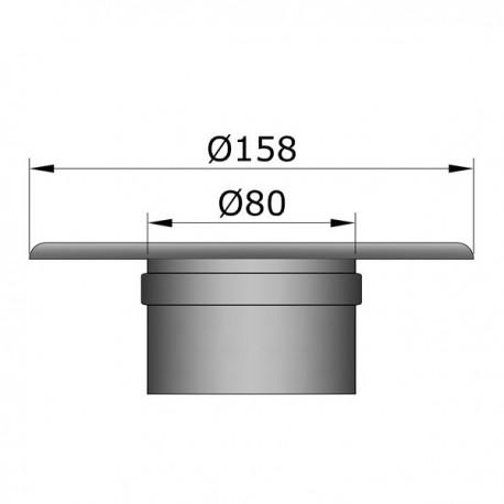 Rozet met muurmof D: 80 mm
