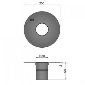 Brede rozet met muurmof D: 80 mm