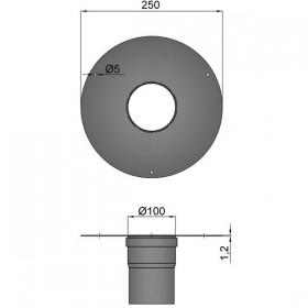 Brede rozet met muurmof D: 100 mm
