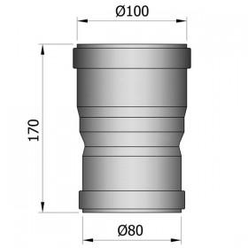 Dubbelmof F/F met verloop 80 - 100 mm